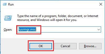 پنجره run و متن مورد نظر برای بازکردن کنسول مدیریت کاربران ویندوز